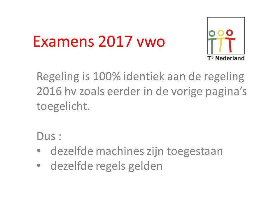 Examens 2017 vwo Regeling is 100% identiek aan de regeling 2016 hv zoals eerder in de vorige pagina's toegelicht.