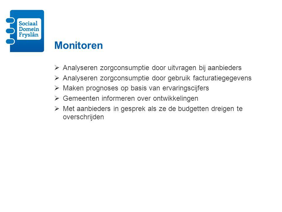 Monitoren Analyseren zorgconsumptie door uitvragen bij aanbieders