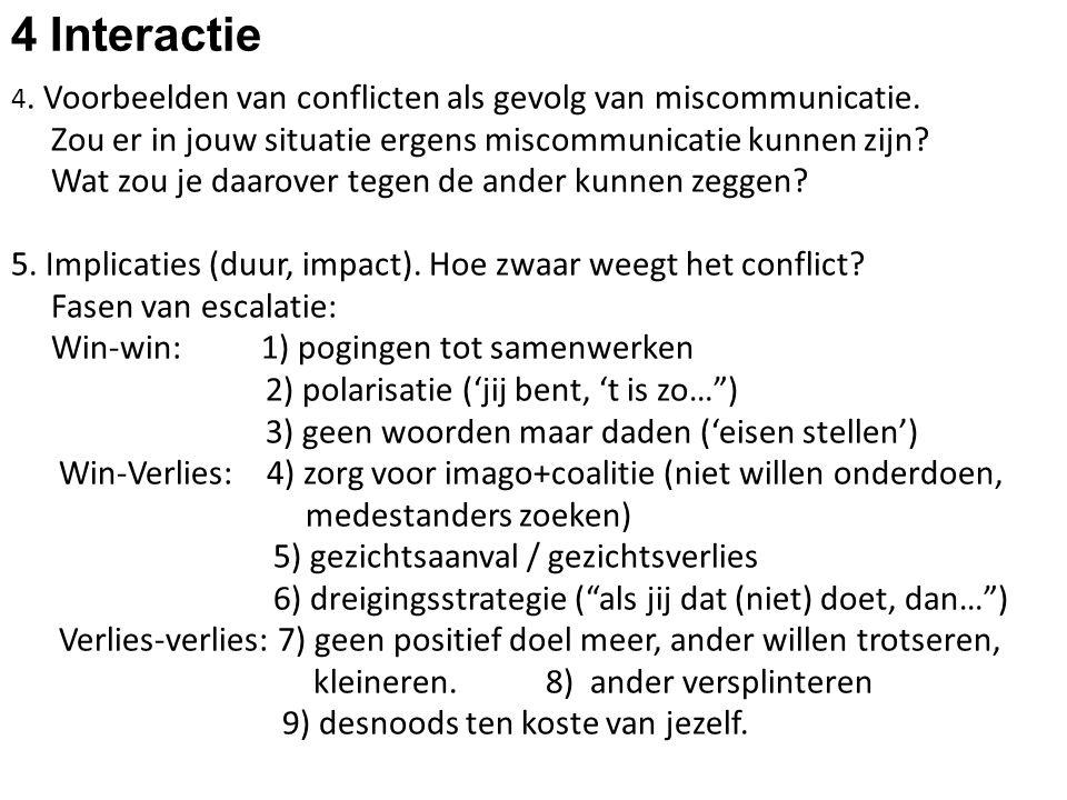 4 Interactie 4. Voorbeelden van conflicten als gevolg van miscommunicatie. Zou er in jouw situatie ergens miscommunicatie kunnen zijn