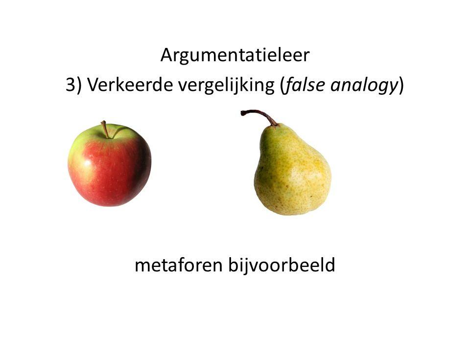 3) Verkeerde vergelijking (false analogy)