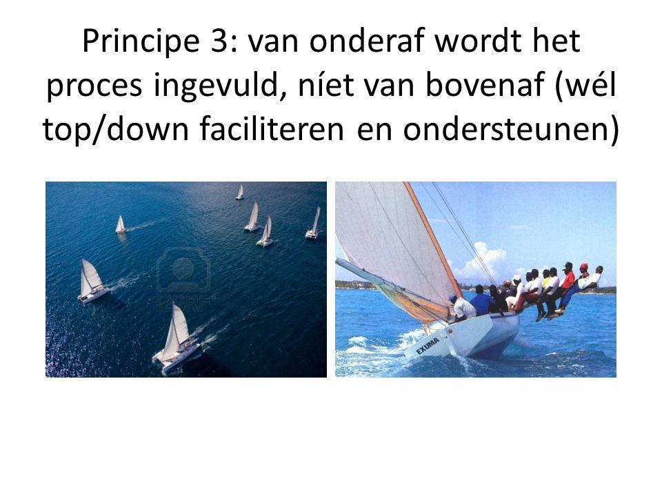Principe 3: van onderaf wordt het proces ingevuld, níet van bovenaf (wél top/down faciliteren en ondersteunen)