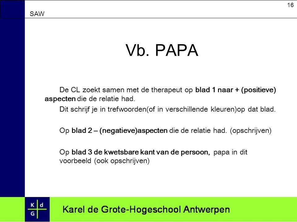 Vb. PAPA De CL zoekt samen met de therapeut op blad 1 naar + (positieve) aspecten die de relatie had.