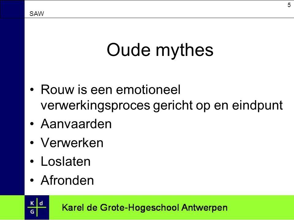 Oude mythes Rouw is een emotioneel verwerkingsproces gericht op en eindpunt. Aanvaarden. Verwerken.