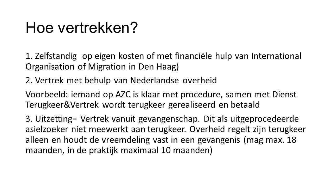 Hoe vertrekken 1. Zelfstandig op eigen kosten of met financiële hulp van International Organisation of Migration in Den Haag)
