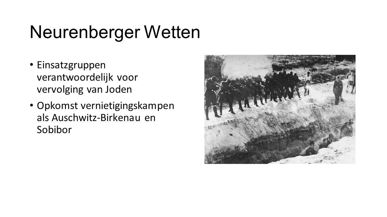 Neurenberger Wetten Einsatzgruppen verantwoordelijk voor vervolging van Joden.