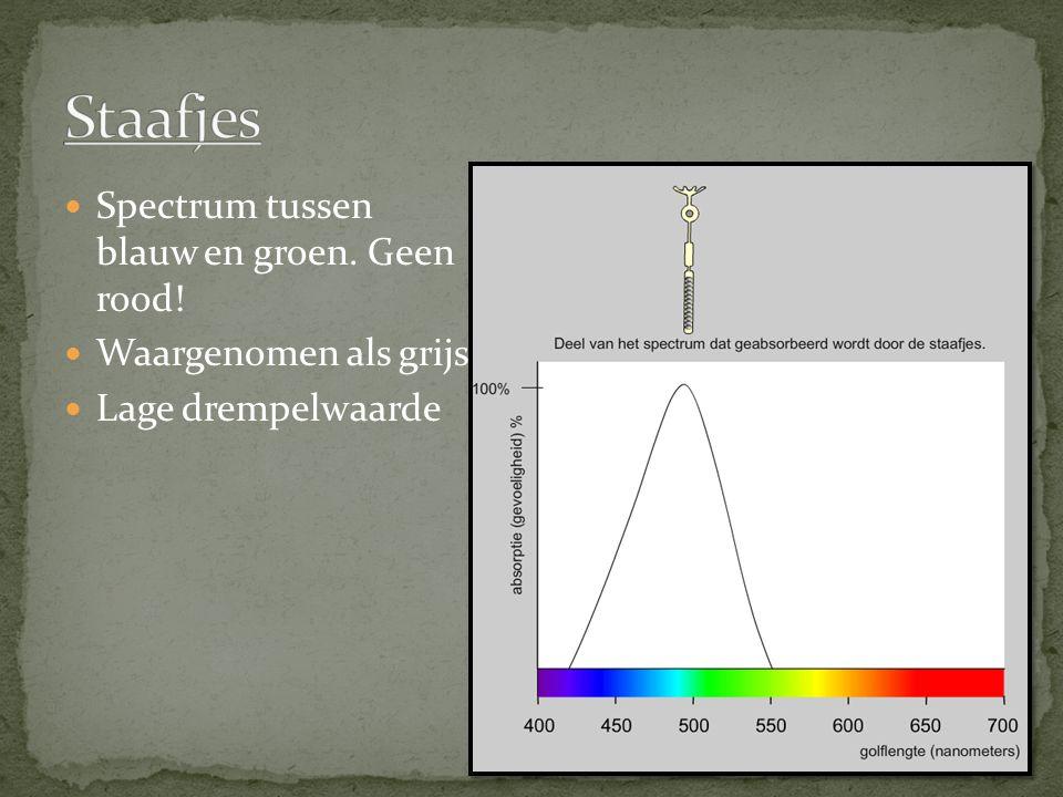 Staafjes Spectrum tussen blauw en groen. Geen rood!