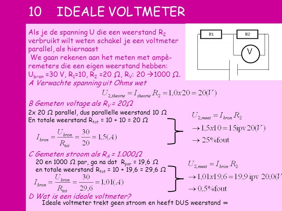 10 ideale voltmeter Als je de spanning U die een weerstand R2 verbruikt wilt weten schakel je een voltmeter parallel, als hiernaast.
