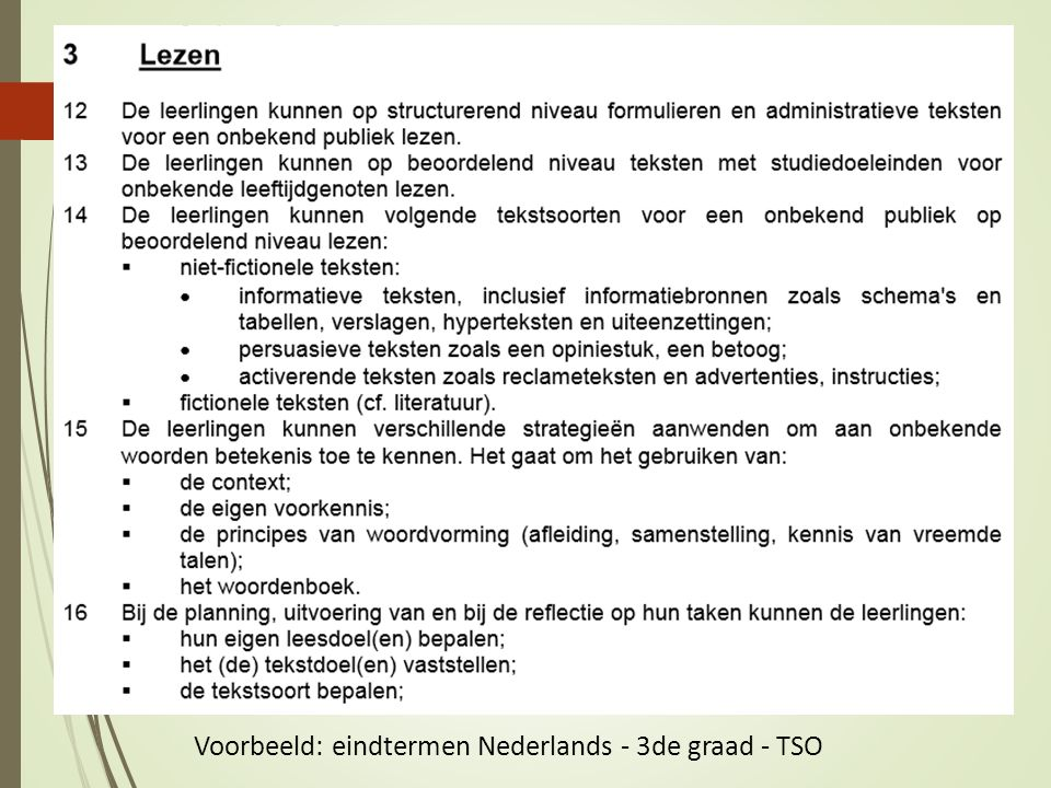 Voorbeeld: eindtermen Nederlands - 3de graad - TSO