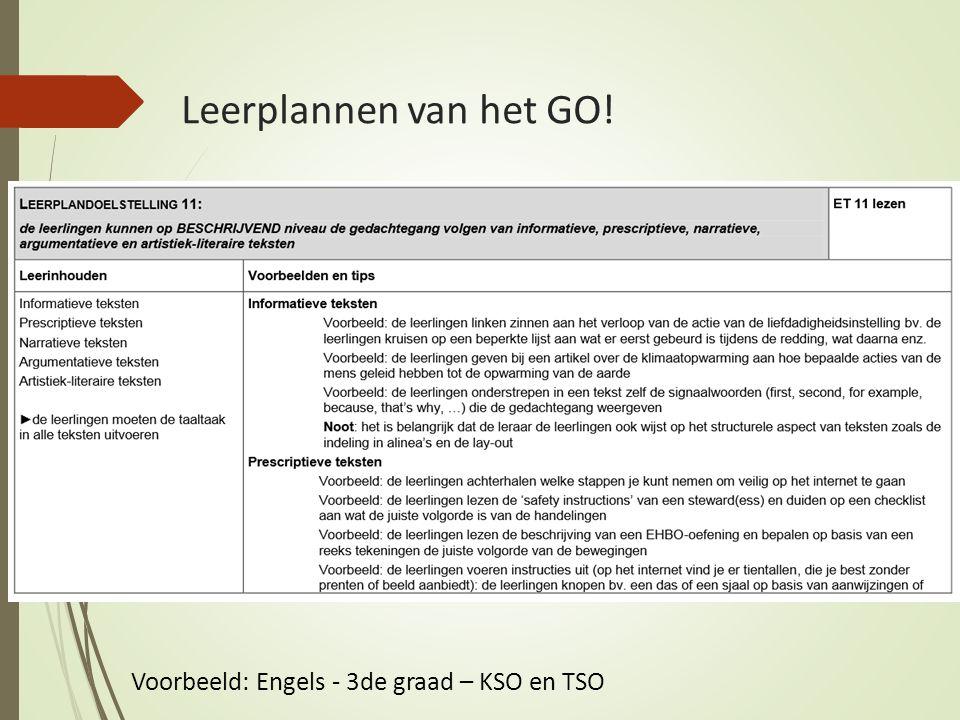 Leerplannen van het GO! Voorbeeld: Engels - 3de graad – KSO en TSO