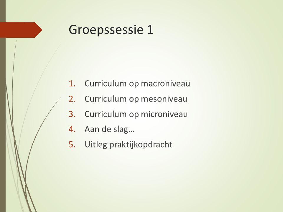 Groepssessie 1 Curriculum op macroniveau Curriculum op mesoniveau