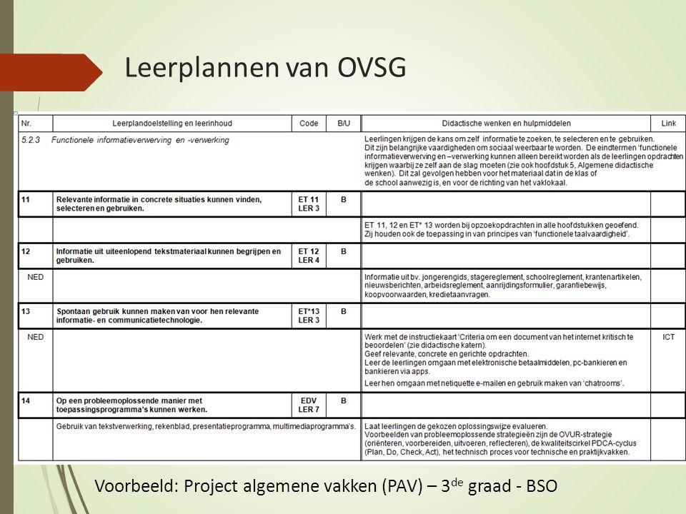 Leerplannen van OVSG Voorbeeld: Project algemene vakken (PAV) – 3de graad - BSO