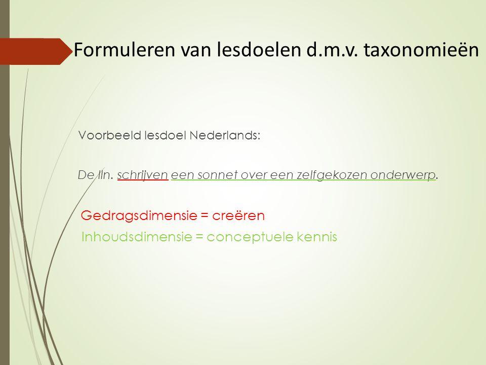 Formuleren van lesdoelen d.m.v. taxonomieën