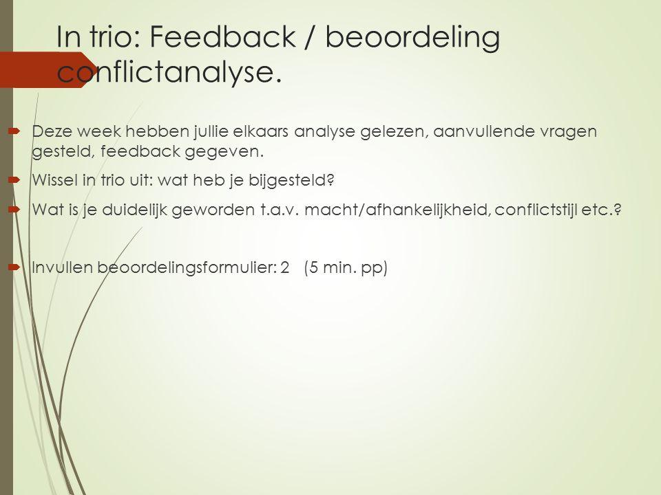 In trio: Feedback / beoordeling conflictanalyse.