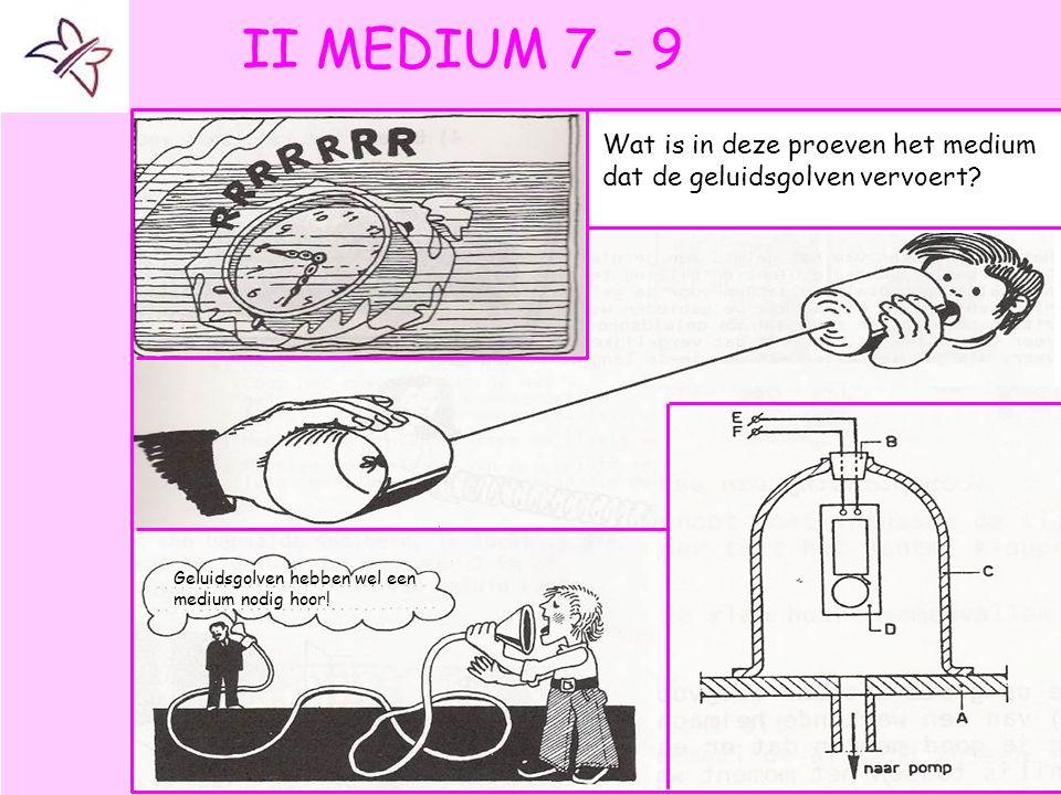 II MEDIUM 7 - 9 Wat is in deze proeven het medium dat de geluidsgolven vervoert.
