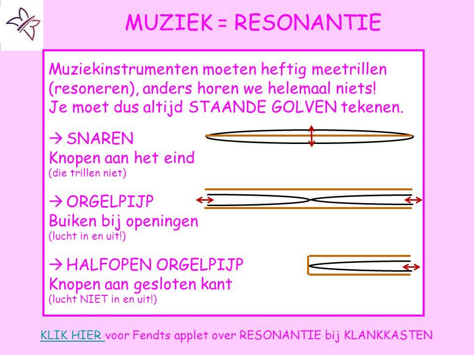 MUZIEK = RESONANTIE Muziekinstrumenten moeten heftig meetrillen (resoneren), anders horen we helemaal niets!