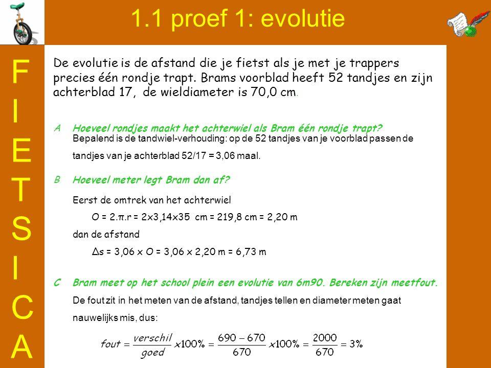 FIETSICA 1.1 proef 1: evolutie