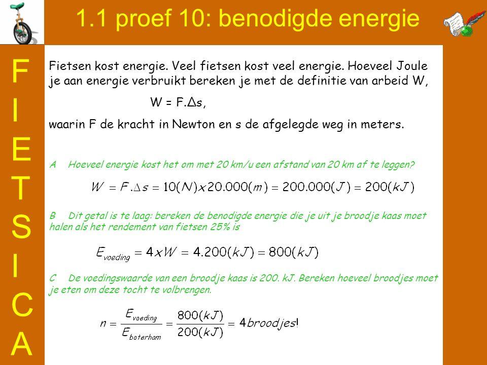 1.1 proef 10: benodigde energie