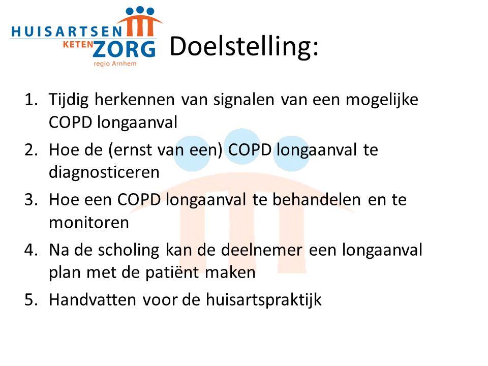 Doelstelling: Tijdig herkennen van signalen van een mogelijke COPD longaanval. Hoe de (ernst van een) COPD longaanval te diagnosticeren.