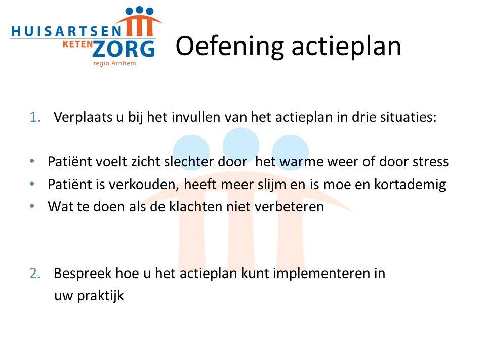 Oefening actieplan Verplaats u bij het invullen van het actieplan in drie situaties: