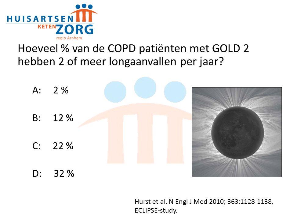 Hoeveel % van de COPD patiënten met GOLD 2 hebben 2 of meer longaanvallen per jaar
