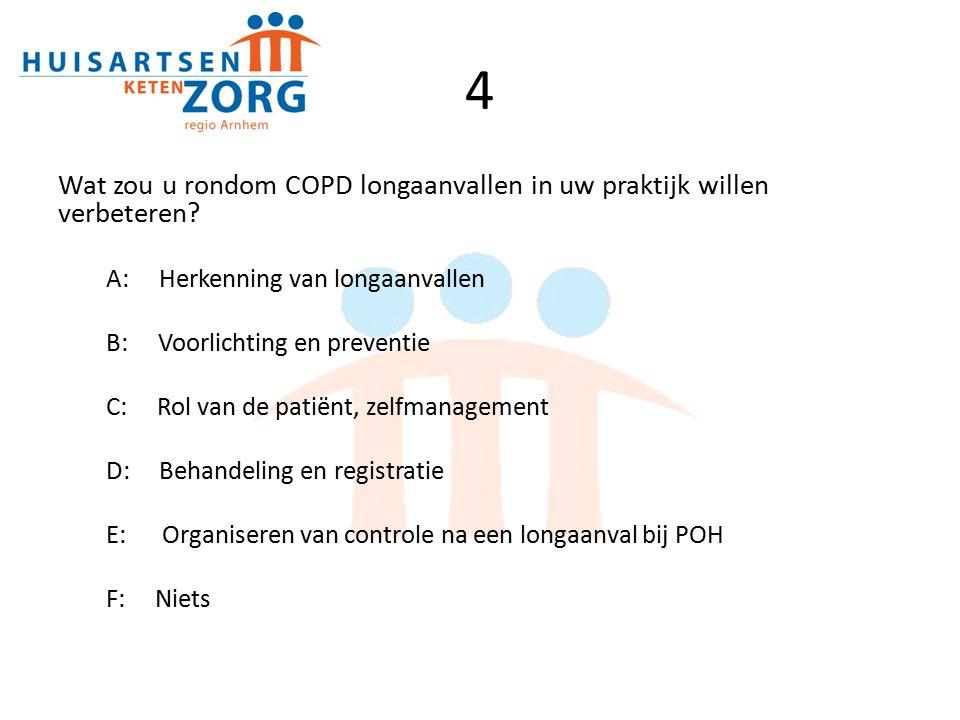 4 Wat zou u rondom COPD longaanvallen in uw praktijk willen verbeteren A: Herkenning van longaanvallen.