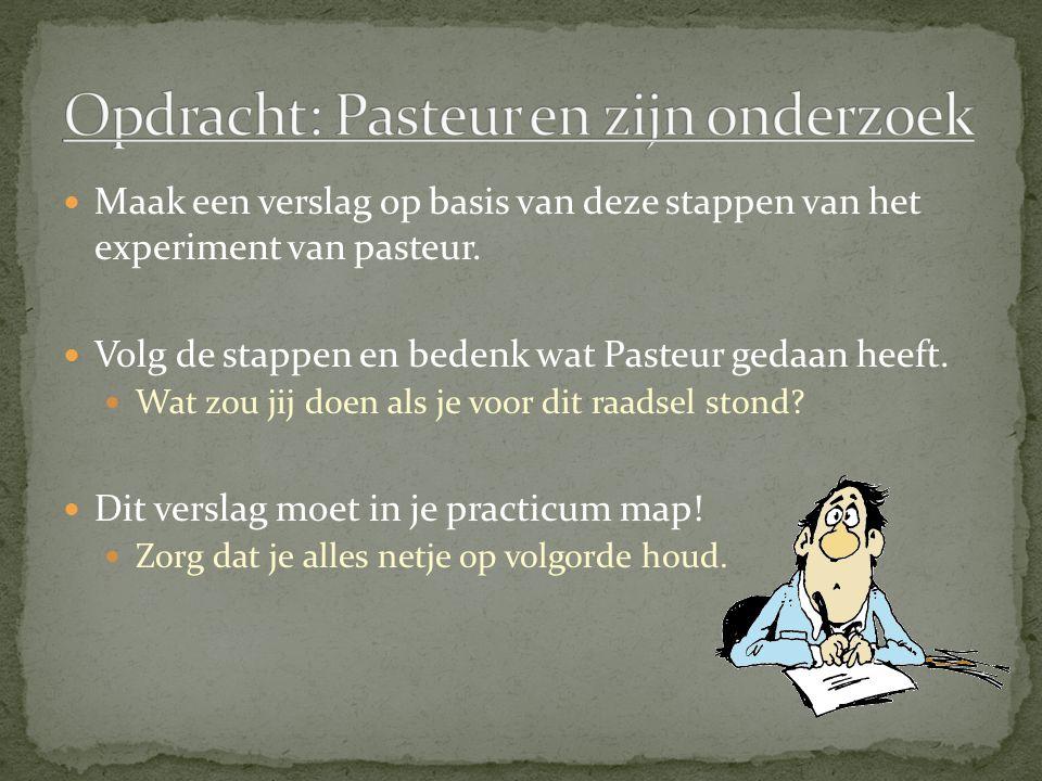 Opdracht: Pasteur en zijn onderzoek