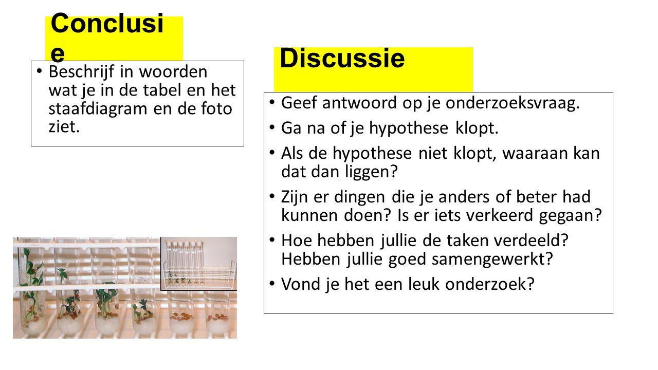 Conclusie Discussie. Beschrijf in woorden wat je in de tabel en het staafdiagram en de foto ziet.