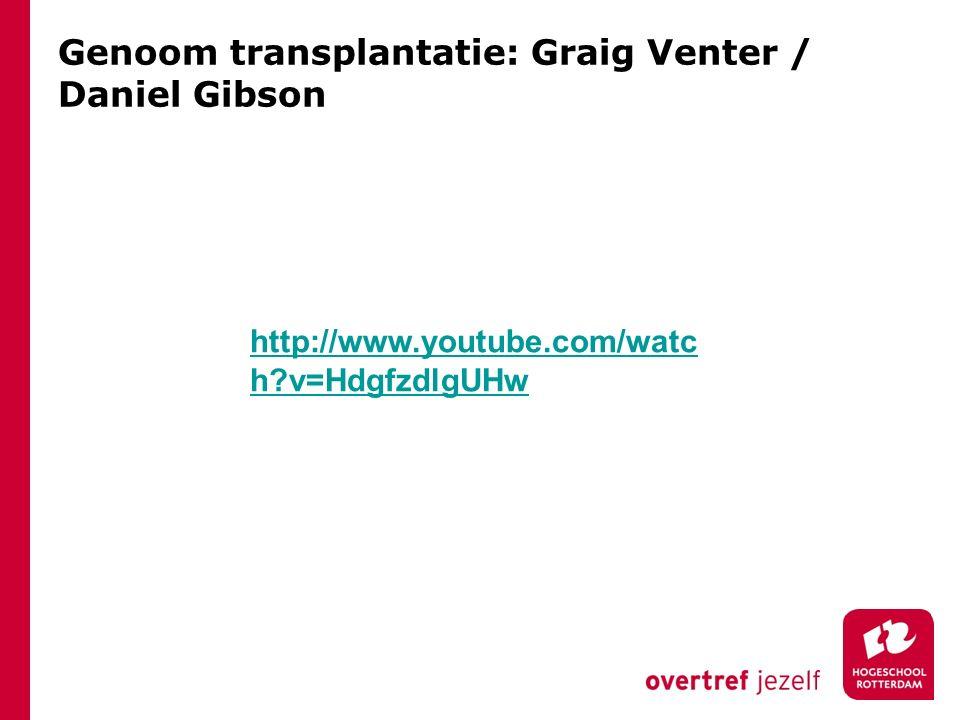 Genoom transplantatie: Graig Venter / Daniel Gibson
