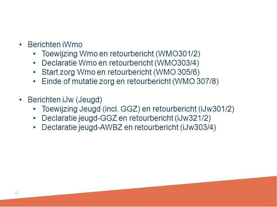 Berichten iWmo Toewijzing Wmo en retourbericht (WMO301/2) Declaratie Wmo en retourbericht (WMO303/4)