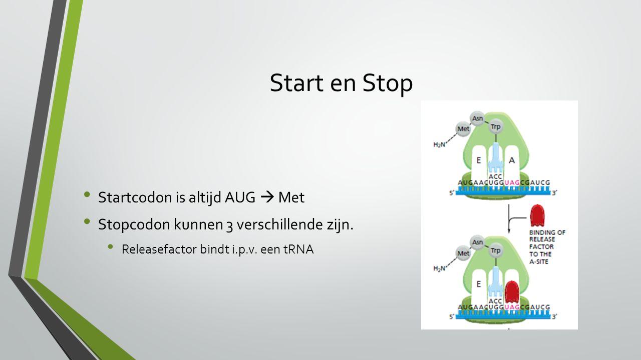 Start en Stop Startcodon is altijd AUG  Met