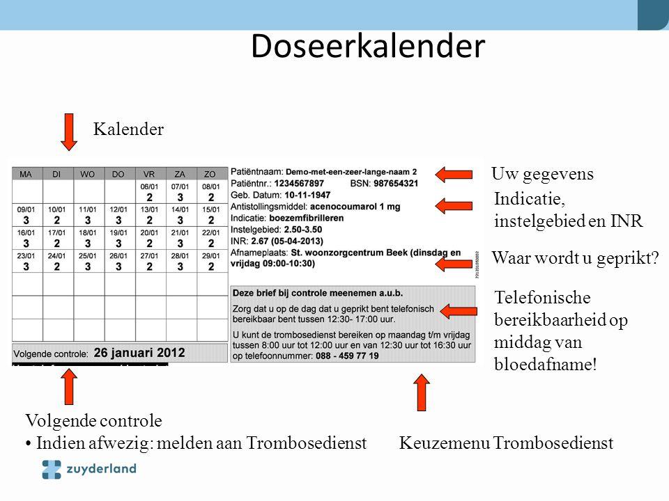 Doseerkalender Kalender Uw gegevens Indicatie, instelgebied en INR
