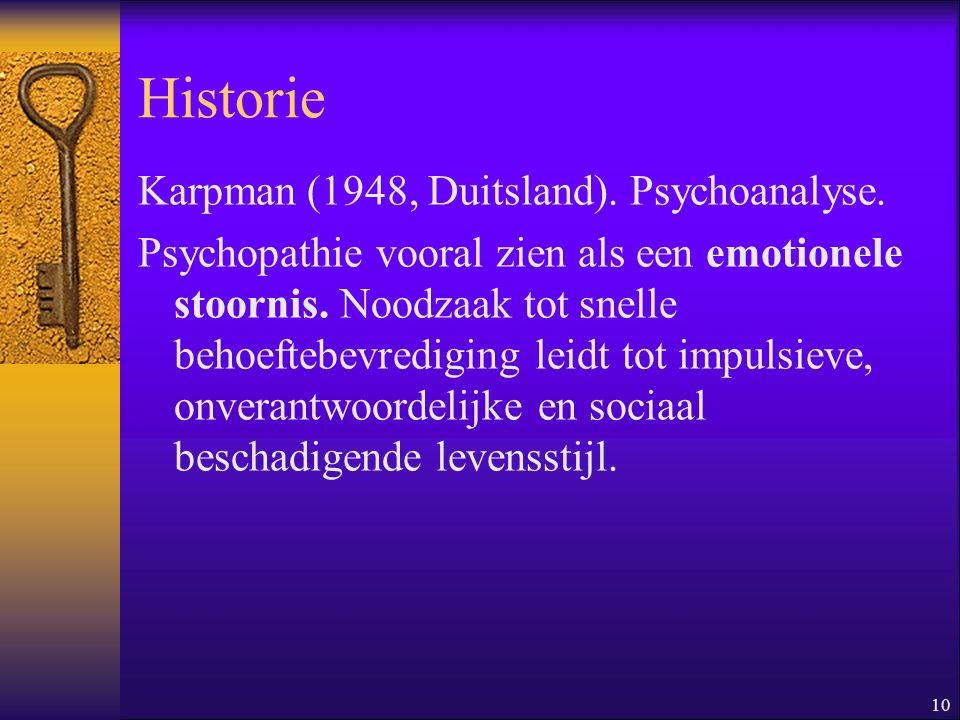 Historie Karpman (1948, Duitsland). Psychoanalyse.
