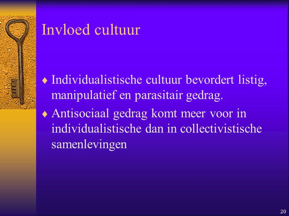 Invloed cultuur Individualistische cultuur bevordert listig, manipulatief en parasitair gedrag.