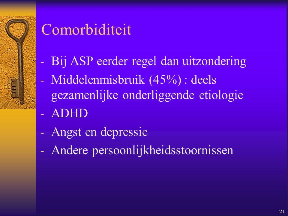 Comorbiditeit Bij ASP eerder regel dan uitzondering