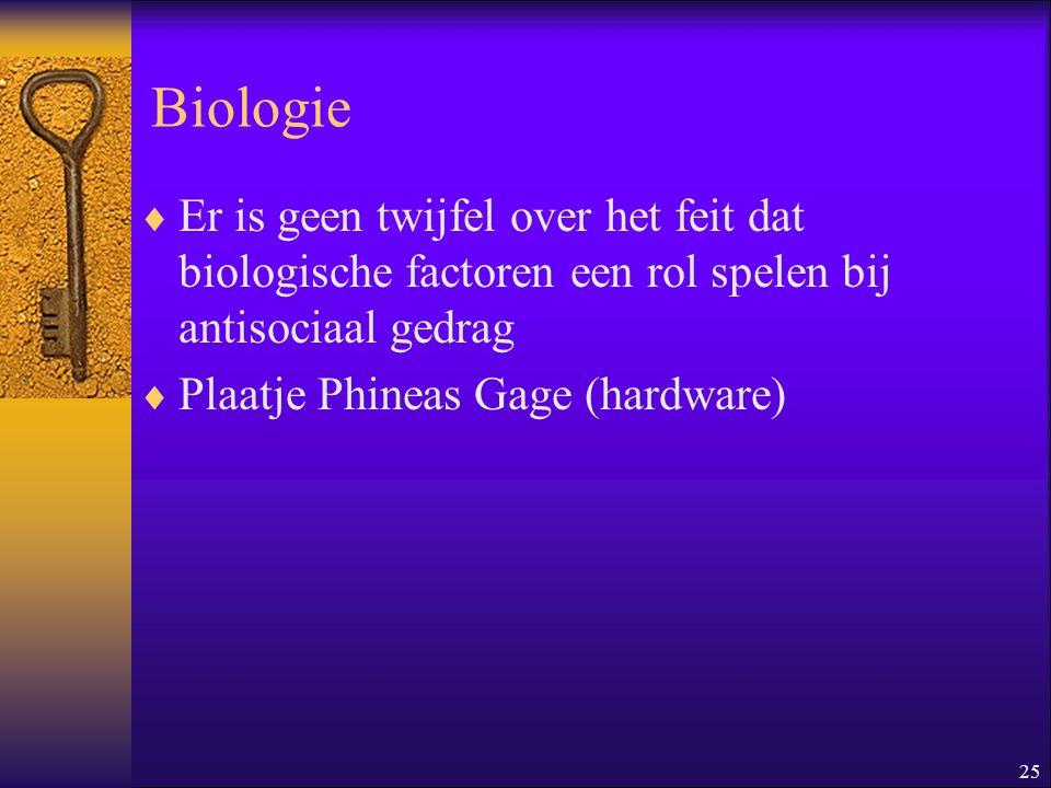 Biologie Er is geen twijfel over het feit dat biologische factoren een rol spelen bij antisociaal gedrag.
