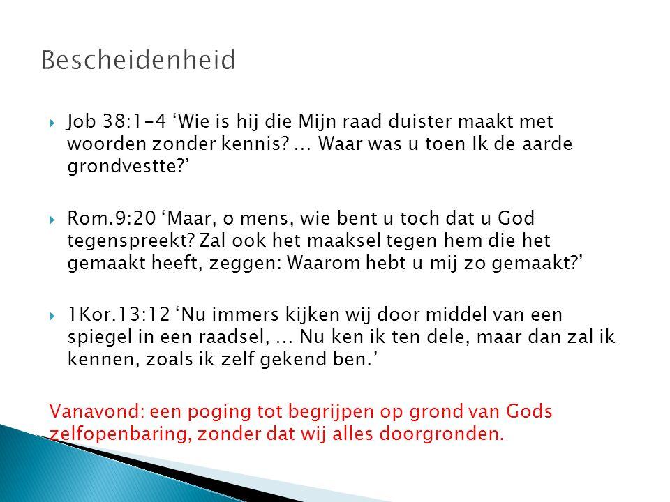 Bescheidenheid Job 38:1-4 'Wie is hij die Mijn raad duister maakt met woorden zonder kennis … Waar was u toen Ik de aarde grondvestte '