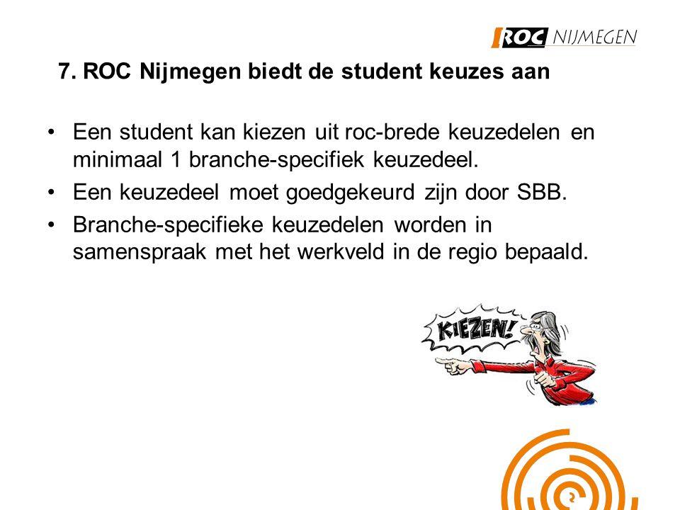 7. ROC Nijmegen biedt de student keuzes aan