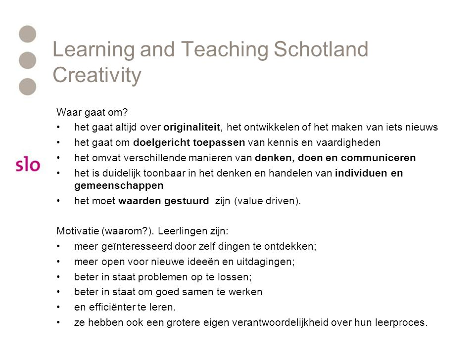 Learning and Teaching Schotland Creativity