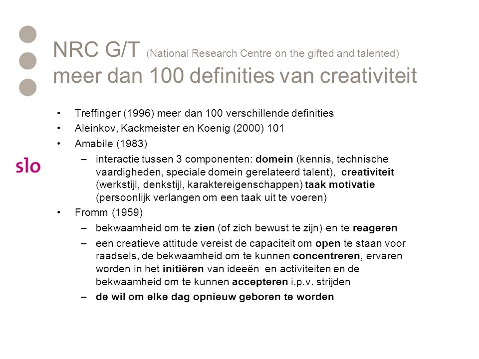 NRC G/T (National Research Centre on the gifted and talented) meer dan 100 definities van creativiteit