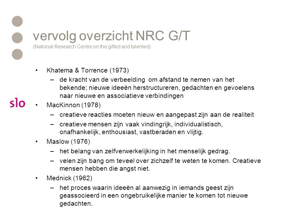 vervolg overzicht NRC G/T (National Research Centre on the gifted and talented)