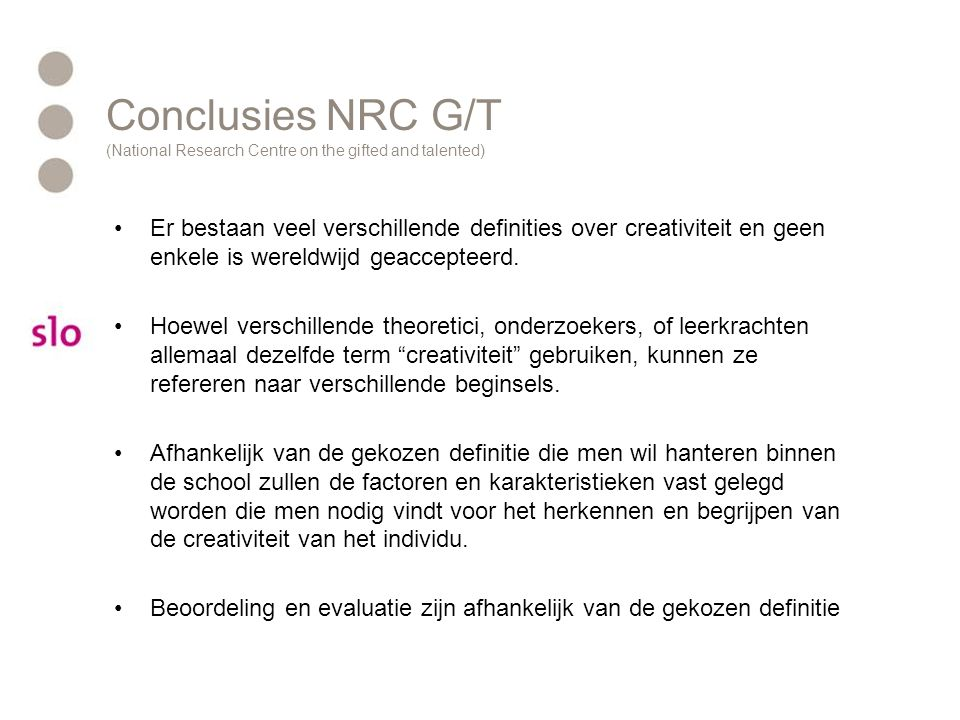Conclusies NRC G/T (National Research Centre on the gifted and talented)