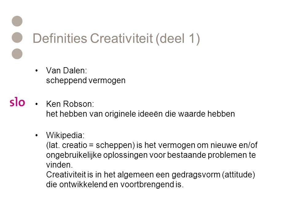 Definities Creativiteit (deel 1)
