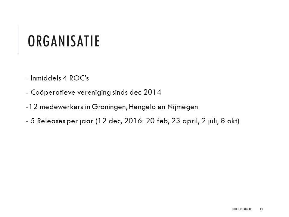 organisatie Inmiddels 4 ROC's Coöperatieve vereniging sinds dec 2014