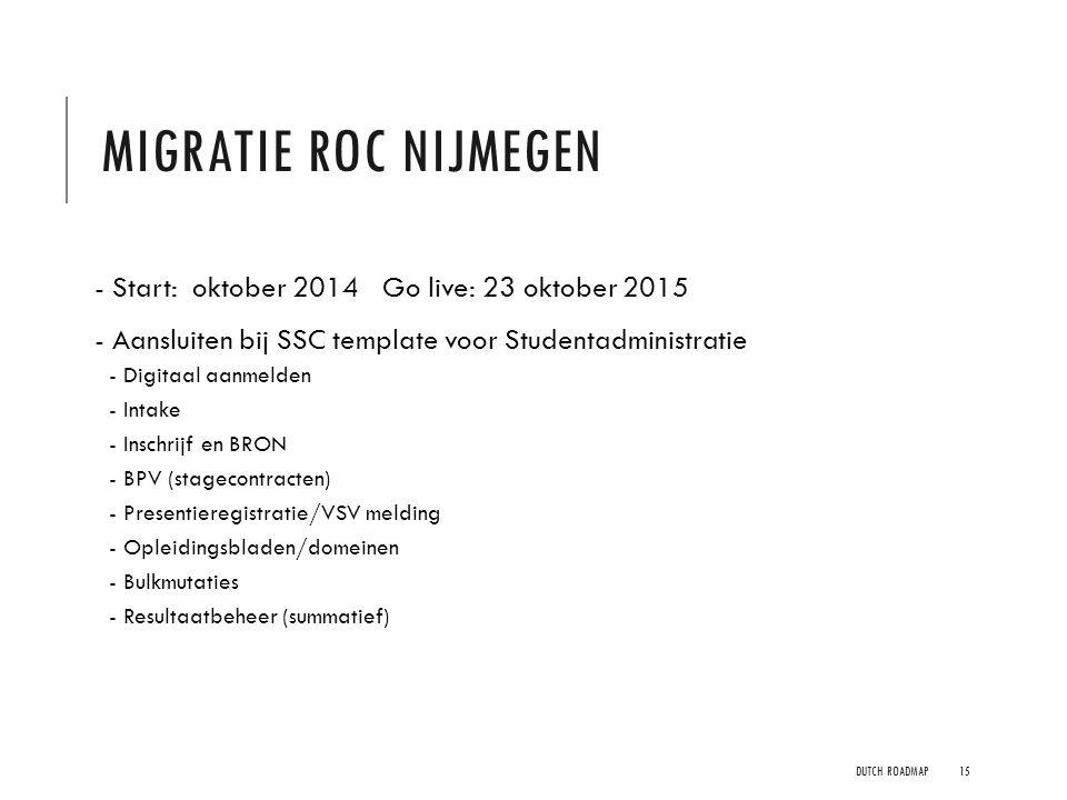 Migratie ROC Nijmegen - Start: oktober 2014 Go live: 23 oktober 2015