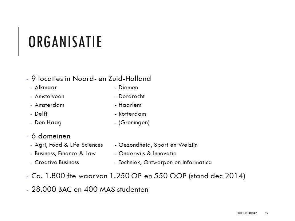 Organisatie 9 locaties in Noord- en Zuid-Holland 6 domeinen