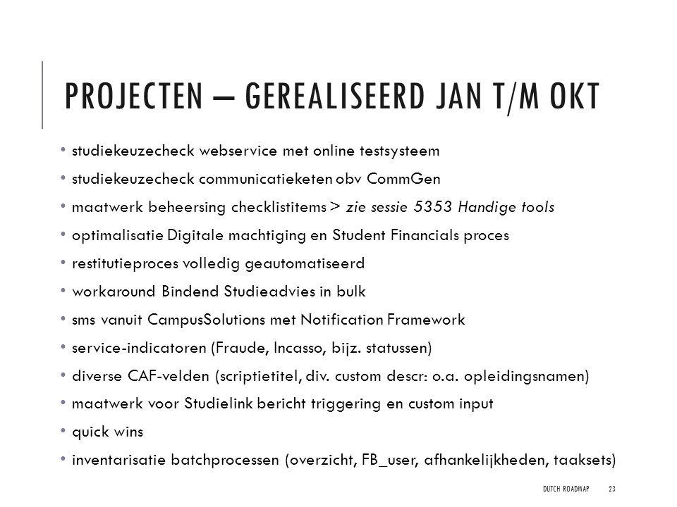 Projecten – Gerealiseerd jan t/m okt