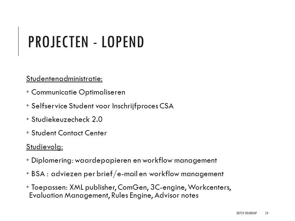 Projecten - lopend Studentenadministratie: Communicatie Optimaliseren