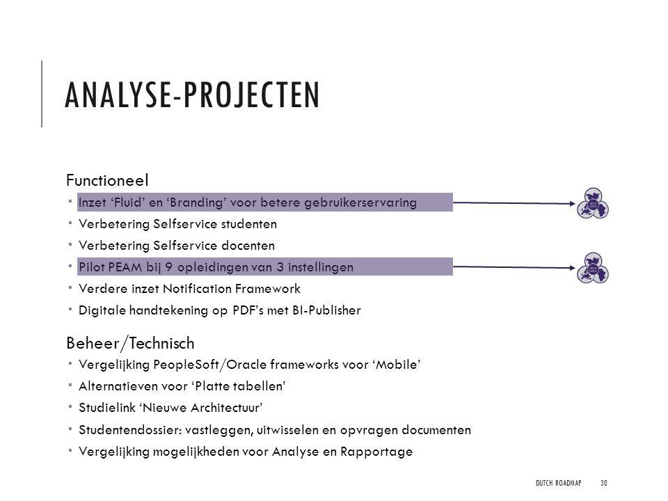 Analyse-projecten Functioneel Beheer/Technisch