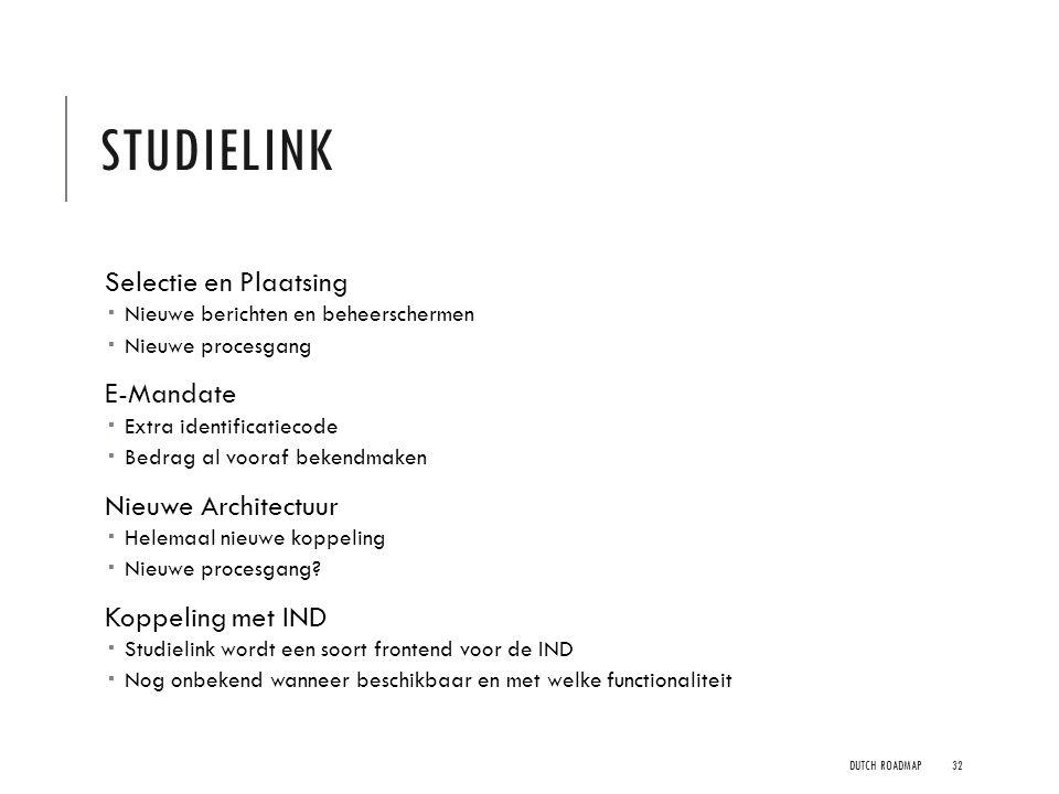 Studielink Selectie en Plaatsing E-Mandate Nieuwe Architectuur