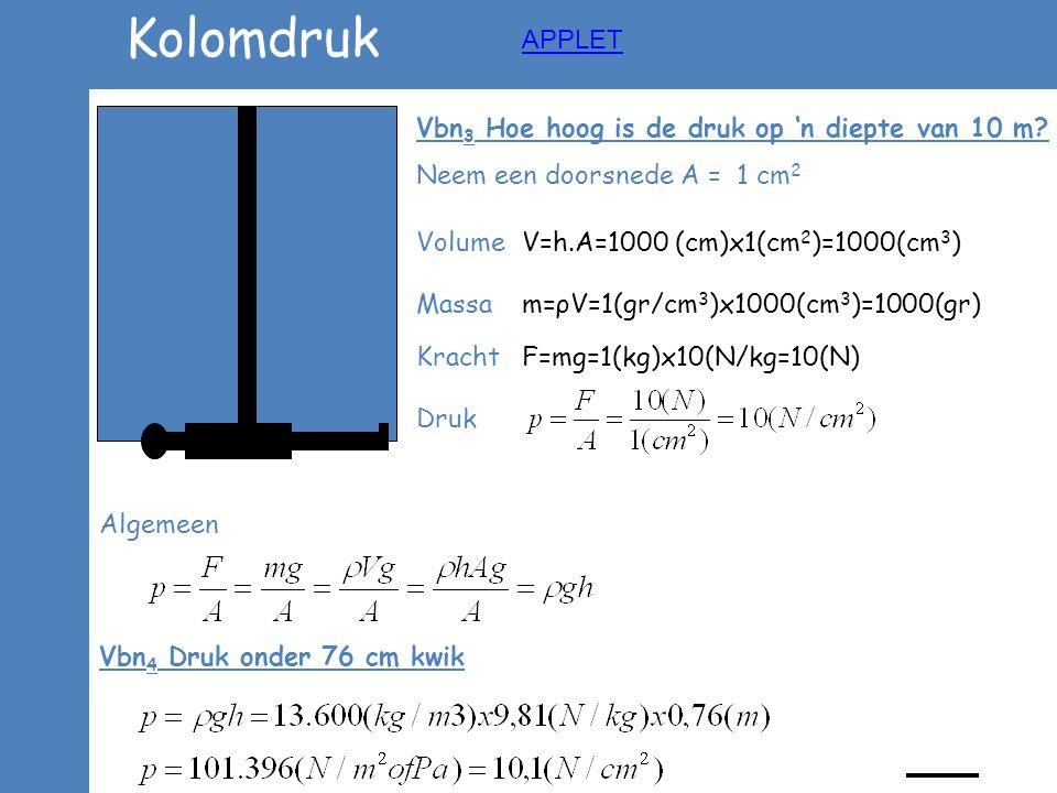 Kolomdruk APPLET Vbn3 Hoe hoog is de druk op 'n diepte van 10 m
